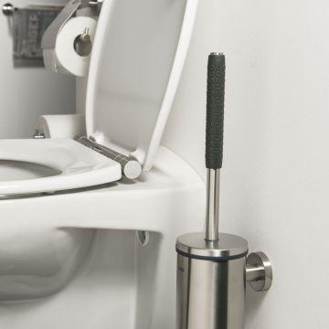 Tiger Boston Comfort & Safety toiletborstel met houder 9 x 12,6 x 46,9 cm, rvs geborsteld