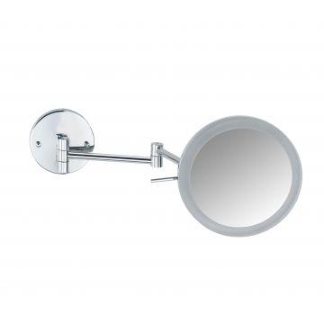 Wenko Aura Power-Loc make-up spiegel met LED-verlichting en 5x vergrotend 20 cm, chroom
