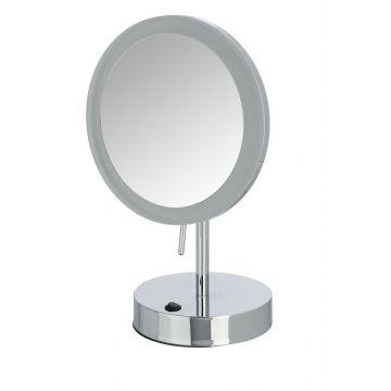 Wenko Aura make-up spiegel staand met LED-verlichting en 5x vergrotend 20 cm, chroom