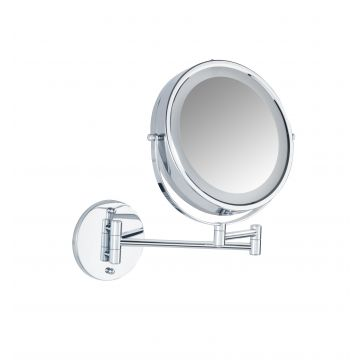 Wenko Lumi Power-Loc make-up spiegel met LED-verlichting en 5x vergrotend 22 cm, chroom