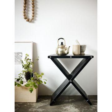 Skagerak Fionia houten badkamerkruk 40 x 33,5 x 44 cm, zwart eiken