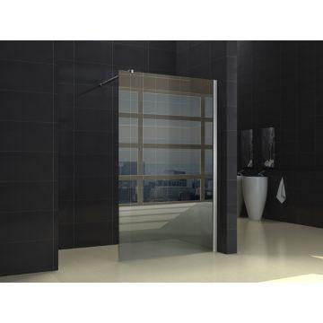 Wiesbaden inloopdouche met muurprofiel 90x200x1 cm NANO glas, chroom