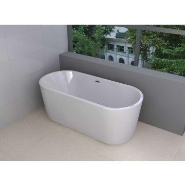 Wiesbaden Libero vrijstaand acryl ligbad met waste 178x80 cm, wit