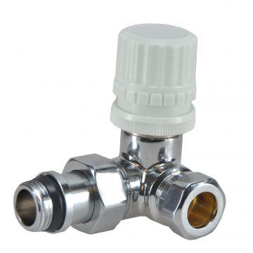"Riko luxe therm ventiel M22 1/2"" x 15 mm knel haaks links"