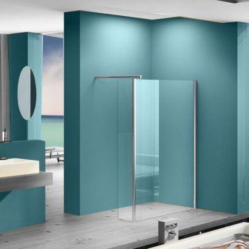 Wiesbaden Eco-Combi inloopdouche met zijwand 90x200 cm 8 mm NANO-coating, chroom