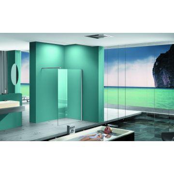 Wiesbaden Eco inloopdouche met muurprofiel 100x200 mm 8 mm NANO-coating, chroom
