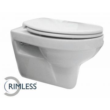 Wiesbaden Trevi CombiPack rimless hangend toilet diepspoel met softclose en quickrelease zitting, wit