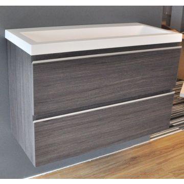 Wiesbaden wastafelonderkast met 2 laden zonder wastafel 80x36 cm, houtnerf grijs