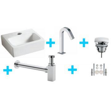 Sub Mini-Leto One Pack fontein met Leto fonteinkraan, wit/chroom