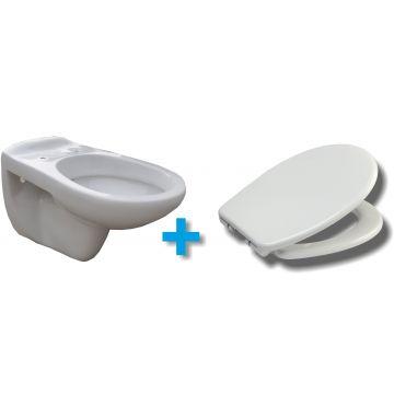 Wiesbaden Neptunus One Pack hangend toilet diepspoel met Ultimo 2.0 zitting met softclose en quickrelease, wit
