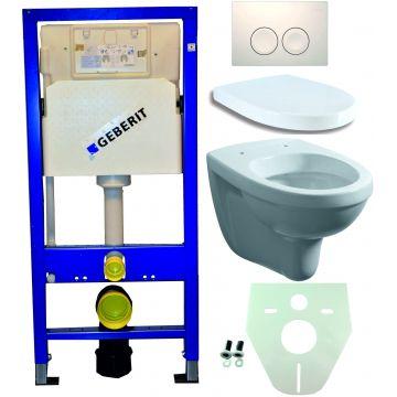 Toiletset Geberit UP100 Duofix + Wiesbaden Trevi hangend toilet met zitting + Geberit Delta21 bedieningsplaat, wit