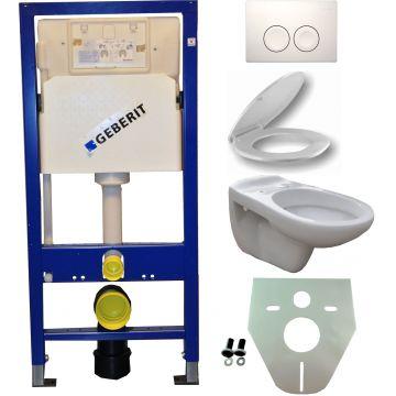 Toiletset Geberit UP100 Duofix + Wiesbaden Neptunus hangend toilet met zitting + Geberit Delta21 bedieningsplaat, wit
