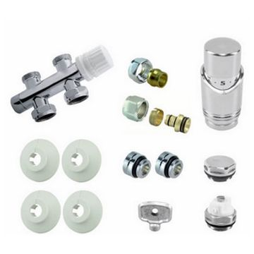 Riko Parts onderblokset compleet met 15 mm knel recht, chroom wit