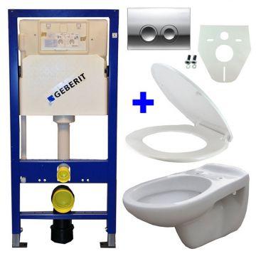 Toiletset Geberit UP100 Duofix + Wiesbaden Neptunus hangend toilet met zitting + Geberit Delta21 bedieningsplaat, chroom