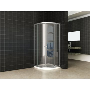 Wiesbaden Eco kwartronde douchecabine 80x80x190 cm, aluminium