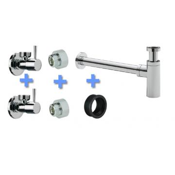 Sub Uni-2 aansluitset fontein/wastafel met luxe sifon, chroom