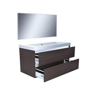 Wiesbaden Vision meubelset met spiegel 100 cm, houtnerf grijs