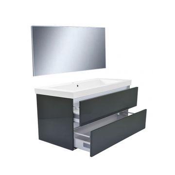 Wiesbaden Vision meubelset met spiegel 100 cm, hoogglans grijs