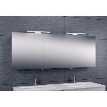 Wiesbaden Luxe spiegelkast 160x60x14 cm met LED-verlichting, aluminium