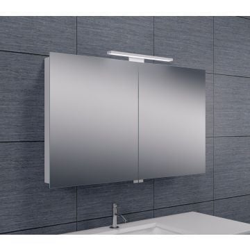Wiesbaden Luxe spiegelkast 100x60x14 cm met LED-verlichting, aluminium