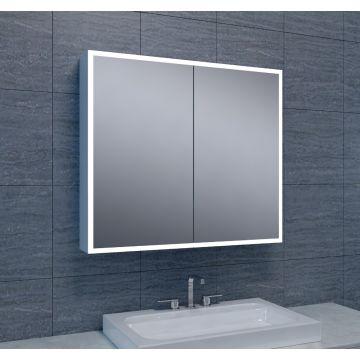 Wiesbaden Quatro spiegelkast 70x80x13 cm met LED-verlichting, aluminium