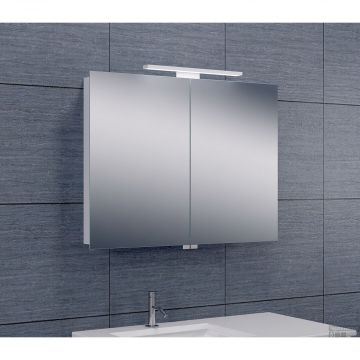 Wiesbaden Luxe spiegelkast met LED-verlichting 60 x 80 x 14 cm, aluminium