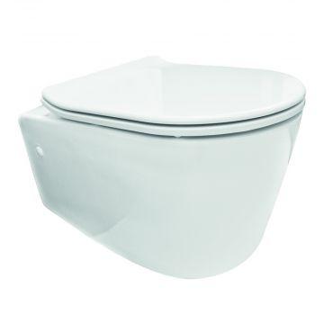 Sub Sky hangend toilet diepspoel rimless NANO EasyCleaning met toiletzitting Flatline 2.0 softclose en quickrelease, wit