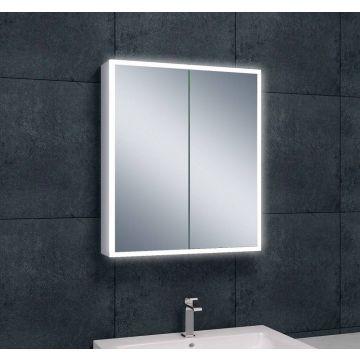 Wiesbaden Quatro spiegelkast 70x60x13 cm met LED-verlichting, aluminium