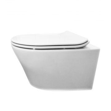 Wiesbaden Vesta hangend toilet diepspoel met Flatline 2.0 zitting softclose en quickrelease, wit