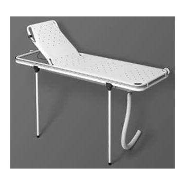 Linido doucheraam met verstelbare rugsteun, opvangbak en flexibele afvoerslang 190 cm, rvs gecoat wit