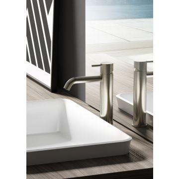 Hotbath Cobber 1-hendel wastafelmengkraan 21,6 cm hoog met gebogen uitloop van 13,5 cm, geborsteld nikkel