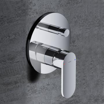 Hotbath Friendo inbouwdouche-/badmengkraan met automatische omstelinrichting, geborsteld nikkel