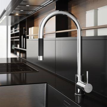 Hotbath Fellow keukenmengkraan met ronde uitloop en uittrekbare handdouche, chroom
