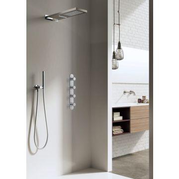 Hotbath Get Together complete thermostatische douche-inbouwset Buddy/Laddy met 3 stopkranen en hoofddouche met cascade, chroom