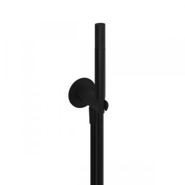 Hotbath Cobber staafhanddouche met doucheslang en wandhouder met onderuitlaat, mat zwart