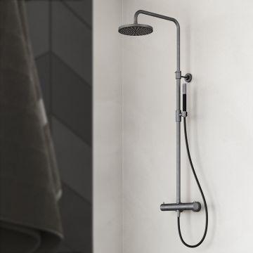 Hotbath Cobber complete thermostatische regendoucheset met staafhanddouche, zwart-chroom