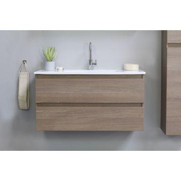 Sub Top wastafelonderkast greeploos hout decor 2 laden 60x46x52 cm, dark oak