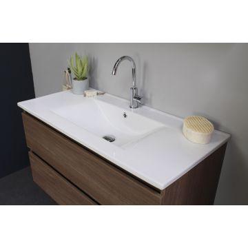 Sub Top porseleinen wastafel enkele bak incl. kraangat 60x46x2 cm, glans wit