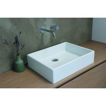 Sub Bow porseleinen opbouw waskom rechthoek 38x50x11 cm, glans wit