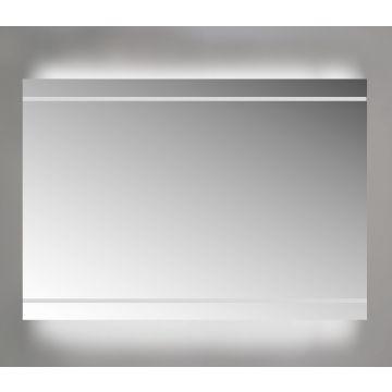 Sub spiegel met led-verlichting boven en onder 140x3x70 cm, aluminium