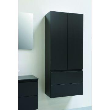 Sub hoge kast met 2 push to open-laden en 2 greeploze deuren 163x70x35 cm, mat antraciet