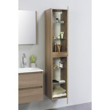 Sub Top hoge kast greeploos hout decor 2 deurs incl. 4 glazen leggers 35x35x169 cm, dark oak