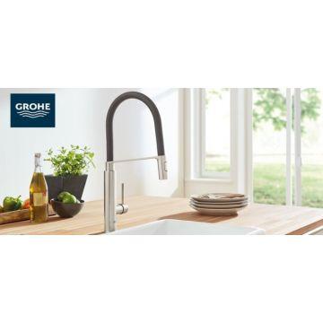 GROHE Concetto 1-gats keukenkraan met professionele flexibele handdouche, chroom-zwart