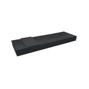 Sub Kuip quartz wastafel zonder kraangat met plug 100x40x10 cm, zwart