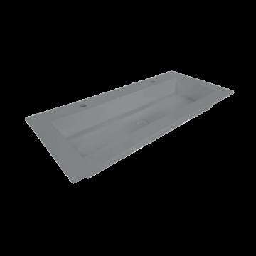Sub Sluis quartz wastafel zonder kraangat met plug 140x45x1 cm, beton