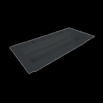 Sub Sluis quartz wastafel met 2 kraangaten en plug 100x45x1 cm, zwart