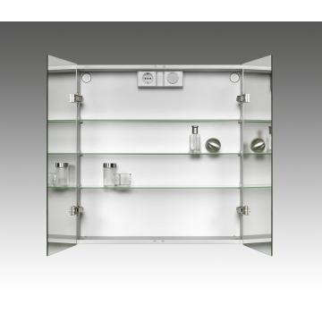 Plieger Lyndalu spiegelkast met 2 deuren en LED-verlichting 65 x 68 cm, aluminium