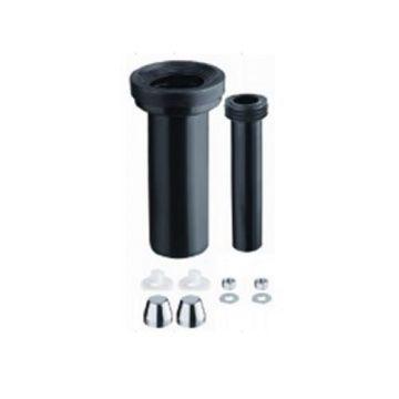 Sub toilet aansluitset verlengd 30 cm, zwart