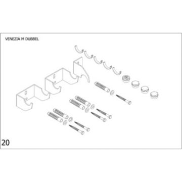 Plieger Venezia M bevestigingsset designradiator dubbel, wit