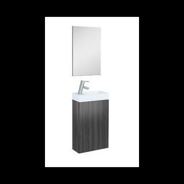 Plieger Senza toiletmeubel met 1 deur en omkeerbare keramische wastafel met spiegel 40 cm, antraciet